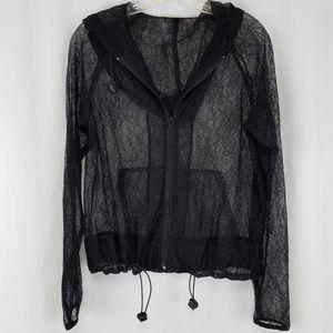 Cache lace zip up hooded sweatshirt.   E26